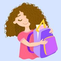 little girl with backpack back to school vector