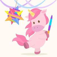 lindo unicornio golpea una piñata vector
