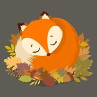 Cute red fox with falling leaves vector