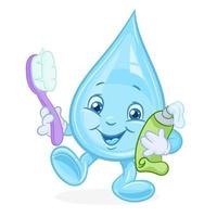Mascot illustration of water drop with a toothbrush vector