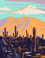 Saguaro Cactus with Wasson Peak in Tucson Mountains Located Within the Saguaro National Park in Arizona WPA Poster Art vector