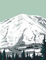 Emmons Glacier on Northeast Flank of Mount Rainier Located in Mount Rainier National Park in Washington State WPA Poster Art vector