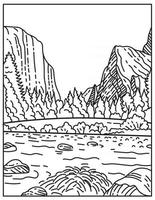 The Yosemite National Park Located in Northern California United States Mono Line or Monoline Black and White Line Art vector