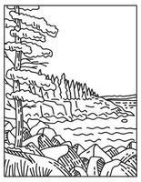 Acadia National Park Along the Atlantic Coast on Mount Desert Island Located in Maine Mono Line or Monoline Black and White Line Art vector
