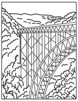 Parque nacional y reserva de New River Gorge en el sur de Virginia Occidental en las montañas Apalaches Línea mono o Línea monocromática en blanco y negro vector