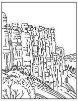 tienda hoodoos rock hada chimenea o pirámide de tierra en el parque nacional bryce canyon ubicado en utah línea mono o monoline arte lineal en blanco y negro vector