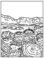 Petrified Forest National Park in Navajo and Apache Counties in Northeastern Arizona United States Mono Line or Monoline Black and White Line Art vector