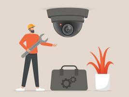 Professionals installing cctv or surveillance cameras vector