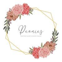 beautiful peony floral arrangement rustic frame border vector