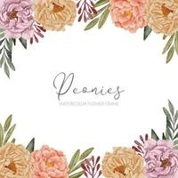 beautiful watercolor peony flower square frame vector