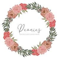 beautiful peony floral arrangement circle border vector