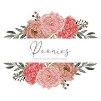 beautiful peony floral arrangement frame border vector