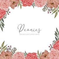 peony floral arrangement square frame border vector