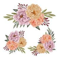 beautiful watercolor peony flower arrangement set vector