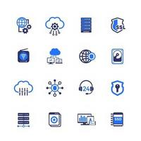 Hosting servers and data storage icons on white vector