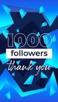 1000 followers vertical banner for social networks vector