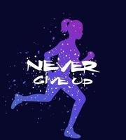 Running motivational poster never give up vector