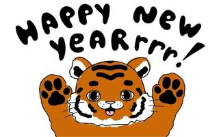 Cute doodle little tiger Baby animals with kid illustration happy new year roar text for card poster calendar vector