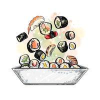 Japanese food menu vegetarian set from a splash of watercolor hand drawn sketch Vector illustration of paints