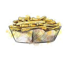 French fries in the paper basket from a splash of watercolor hand drawn sketch Vector illustration of paints