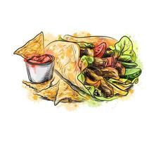 Mexican food Chips with a tortilla nachos with sauces from a splash of watercolor hand drawn sketch Vector illustration of paints