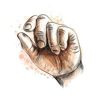 Hand showing size gesture from a splash of watercolor hand drawn sketch Vector illustration of paints