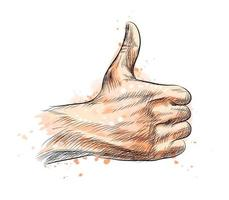 Hand showing symbol Like Making thumb up gesture from a splash of watercolor hand drawn sketch Vector illustration of paints