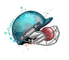 Cricket helmet with ball from a splash of watercolor hand drawn sketch Vector illustration of paints