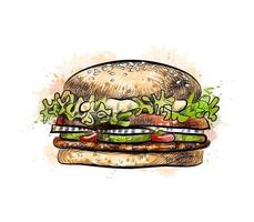 Burger from a splash of watercolor hand drawn sketch Vector illustration of paints