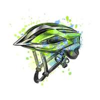Bicycle helmet from a splash of watercolor hand drawn sketch Vector illustration of paints