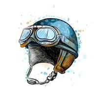 Vintage motorcycle classic helmet with goggles from a splash of watercolor hand drawn sketch Vector illustration of paints