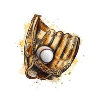 Baseball glove with ball from a splash of watercolor hand drawn sketch Vector illustration of paints
