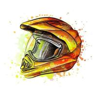 Motorcycle helmet from a splash of watercolor hand drawn sketch Vector illustration of paints