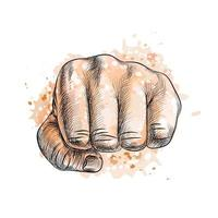 Fist from a splash of watercolor hand drawn sketch Vector illustration of paints