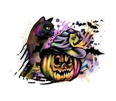 Halloween pumpkin in witch hat and cat Vector illustration