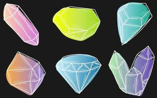 Doodles multicolored crystals isolated white line set Hand drawn vector illustrations collection Sketch for a tattoo
