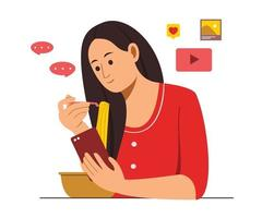 Woman Eat Food While Watching Online Content on the Mobile Phone vector