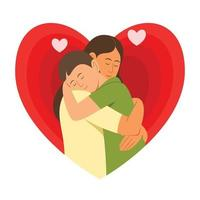 Mother Cuddle the Son in Big Heart of Background vector
