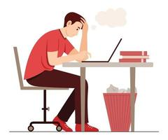 The Freelance Man Feel Confused While Working with Laptop vector