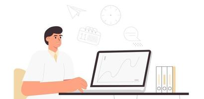 A young man works at a laptop at the desk Business environment with graphs on the monitor and deadlines Flat vector illustration of guy in office