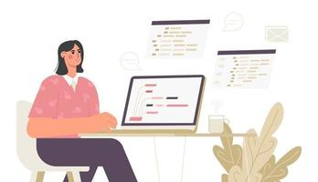 Girl programmer working on web on a laptop The concept of coding and writing a script Flat trend vector illustration