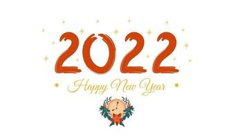 Happy new year 2022 greeting card or banner on white background with gold stars and Christmas clock Festive vector template