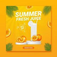 Summer drink menu promotion social media banner template vector