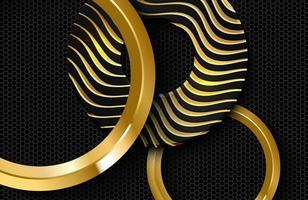 Vector illustration of black circle shapes textured with golden wavy lines