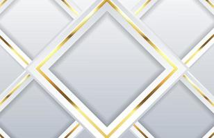 Modern white background with shiny gold geometric element Abstract light clean silver background vector