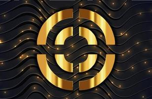 Abstract background with gold glitter particles and sparkling light on black wavy lines surface vector