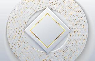 Modern White paper cut background with realistic geometric shape textured with gold dot halftone glitter vector