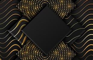 Abstract black geometric background textured with shimmering gold glitter and wavy lines vector
