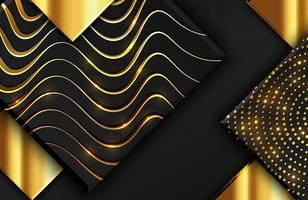 Abstract geometric background with shimmering glitter pattern and wavy lines texture on black square shape vector