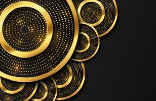 Abstract luxury background with gold circle shape and golden glitter particles vector